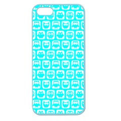 Aqua Turquoise And White Owl Pattern Apple Seamless Iphone 5 Case (color) by creativemom