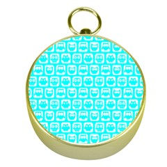 Aqua Turquoise And White Owl Pattern Gold Compasses by creativemom