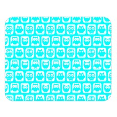 Aqua Turquoise And White Owl Pattern Double Sided Flano Blanket (large)  by creativemom