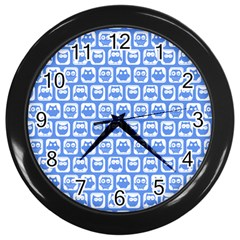 Blue And White Owl Pattern Wall Clocks (black) by creativemom