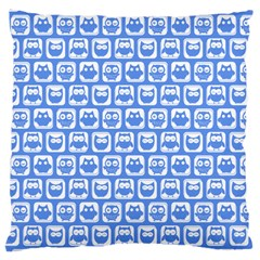 Blue And White Owl Pattern Large Cushion Cases (two Sides)  by creativemom