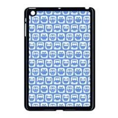 Blue And White Owl Pattern Apple iPad Mini Case (Black) by creativemom