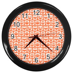 Coral And White Owl Pattern Wall Clocks (black) by creativemom