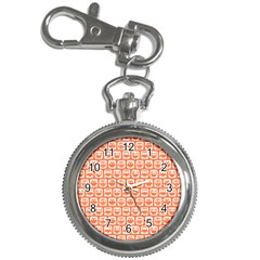 Coral And White Owl Pattern Key Chain Watches by creativemom