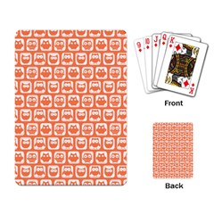 Coral And White Owl Pattern Playing Card by creativemom