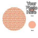 Coral And White Owl Pattern Playing Cards 54 (Round)  Back