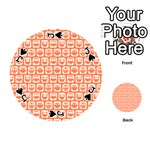 Coral And White Owl Pattern Playing Cards 54 (Round)  Front - SpadeJ