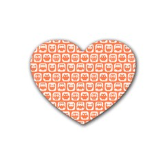 Coral And White Owl Pattern Heart Coaster (4 Pack)  by creativemom