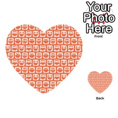 Coral And White Owl Pattern Multi Purpose Cards (heart)