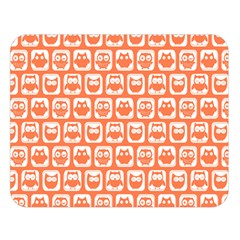 Coral And White Owl Pattern Double Sided Flano Blanket (Large)