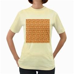 Orange And White Owl Pattern Women s Yellow T Shirt by creativemom