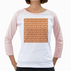 Orange And White Owl Pattern Girly Raglans by creativemom