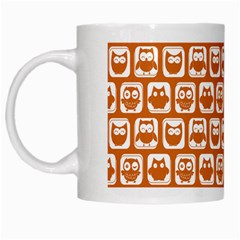 Orange And White Owl Pattern White Mugs by creativemom
