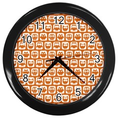 Orange And White Owl Pattern Wall Clocks (black) by creativemom