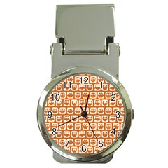 Orange And White Owl Pattern Money Clip Watches by creativemom