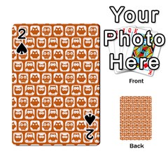 Orange And White Owl Pattern Playing Cards 54 Designs