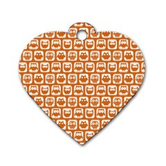 Orange And White Owl Pattern Dog Tag Heart (one Side) by creativemom