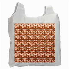 Orange And White Owl Pattern Recycle Bag (one Side) by creativemom