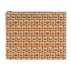 Orange And White Owl Pattern Cosmetic Bag (xl) by creativemom
