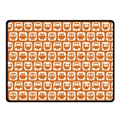 Orange And White Owl Pattern Double Sided Fleece Blanket (small)  by creativemom