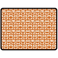 Orange And White Owl Pattern Double Sided Fleece Blanket (large)  by creativemom