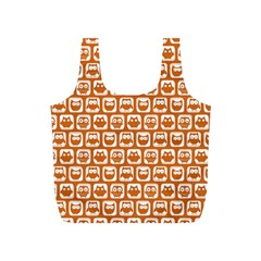 Orange And White Owl Pattern Full Print Recycle Bags (s)  by creativemom