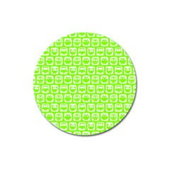 Lime Green And White Owl Pattern Magnet 3  (round) by creativemom