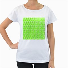 Lime Green And White Owl Pattern Women s Loose Fit T Shirt (white) by creativemom