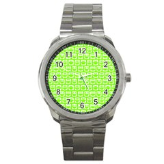 Lime Green And White Owl Pattern Sport Metal Watches by creativemom
