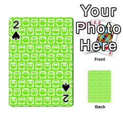 Lime Green And White Owl Pattern Playing Cards 54 Designs