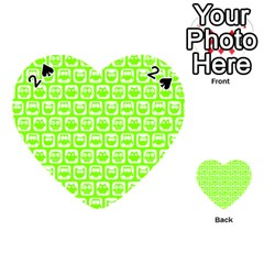 Lime Green And White Owl Pattern Playing Cards 54 (heart)  by creativemom