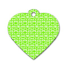 Lime Green And White Owl Pattern Dog Tag Heart (two Sides) by creativemom