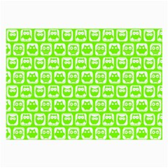 Lime Green And White Owl Pattern Large Glasses Cloth by creativemom