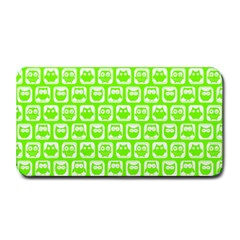 Lime Green And White Owl Pattern Medium Bar Mats by creativemom