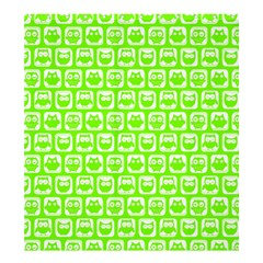 Lime Green And White Owl Pattern Shower Curtain 66  X 72  (large)  by creativemom