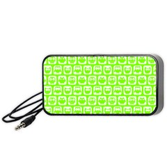 Lime Green And White Owl Pattern Portable Speaker (black)