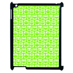 Lime Green And White Owl Pattern Apple Ipad 2 Case (black) by creativemom