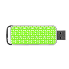 Lime Green And White Owl Pattern Portable Usb Flash (two Sides) by creativemom