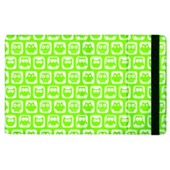 Lime Green And White Owl Pattern Apple Ipad 2 Flip Case by creativemom