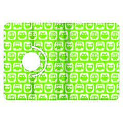 Lime Green And White Owl Pattern Kindle Fire Hdx Flip 360 Case by creativemom
