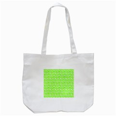Lime Green And White Owl Pattern Tote Bag (white)  by creativemom