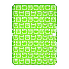 Lime Green And White Owl Pattern Samsung Galaxy Tab 4 (10 1 ) Hardshell Case  by creativemom