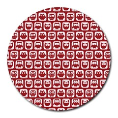 Red And White Owl Pattern Round Mousepads by creativemom