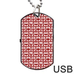 Red And White Owl Pattern Dog Tag USB Flash (One Side) by creativemom