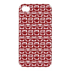 Red And White Owl Pattern Apple Iphone 4/4s Premium Hardshell Case by creativemom