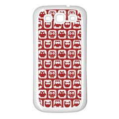 Red And White Owl Pattern Samsung Galaxy S3 Back Case (white) by creativemom