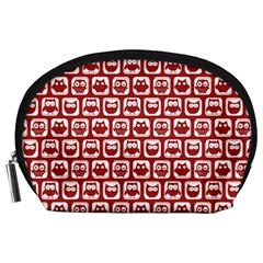 Red And White Owl Pattern Accessory Pouches (large)  by creativemom