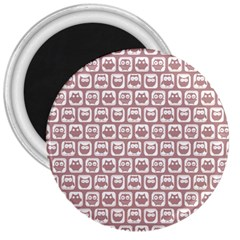 Light Pink And White Owl Pattern 3  Magnets by creativemom