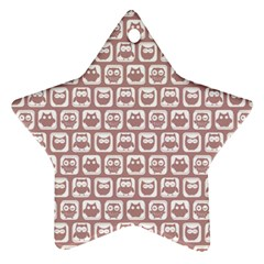 Light Pink And White Owl Pattern Ornament (star)  by creativemom