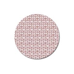 Light Pink And White Owl Pattern Magnet 3  (round) by creativemom